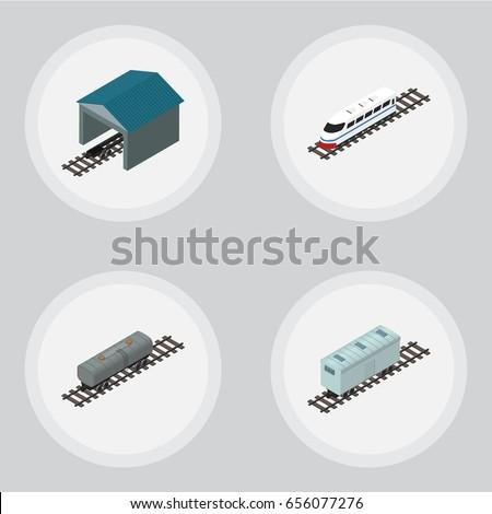 isometric train set of depot
