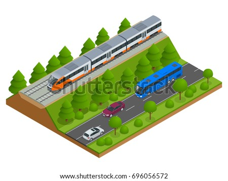 isometric train tracks and
