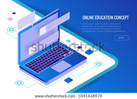 Isometric Training, Online Learning, Webinar, Online Education, Business Training. Flat Vector Illustration Knowledge Expertise Intelligence Learn Concept