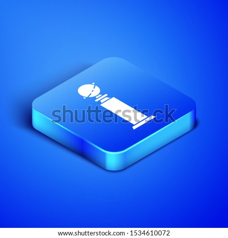 Isometric Trophy Golden Globe icon isolated on blue background. Academy award icon. Films and cinema symbol. Blue square button. Vector Illustration