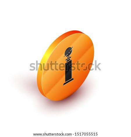 Isometric Trophy Golden Globe icon isolated on white background. Academy award icon. Films and cinema symbol. Orange circle button. Vector Illustration