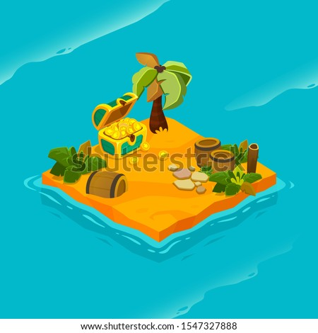 Isometric tropical island with treasure chest and barrel. Vector cartoon illustration for computer games. uninhabited island