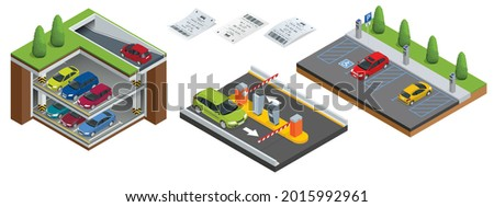 Isometric Underground parking with cars. Indoor car park under house or office. City parking lot with a set of different cars. Public car-park. Car in the parking lot and Parking tickets.