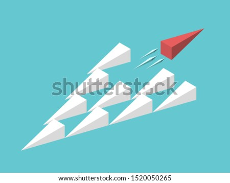 Isometric unique red wedge moving away from group. Uniqueness, trend, freedom, individuality, innovation and creativity concept. Flat design. EPS 8 vector illustration, no transparency, no gradients