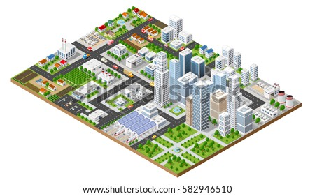 Isometric urban megalopolis top view of the city infrastructure town, street modern, real structure, architecture 3d elements different buildings Сток-фото ©