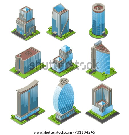 Isometric urban office buildings set of different shapes modern  exterior and architecture isolated vector illustration