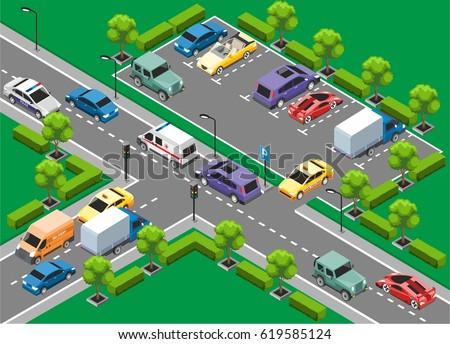 isometric urban traffic
