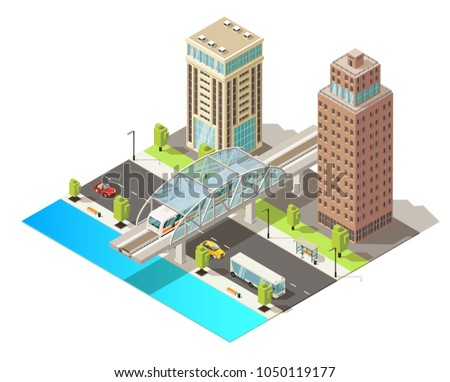 Isometric urban traffic template with modern buildings moving cars bus and metro in city center isolated vector illustration