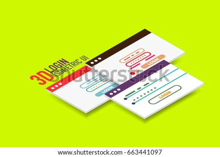 Isometric user interface design, vector semi flat modern style