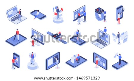 Isometric user interface. Online office, device interactions and touch mobile interfaces. Message sharing social app test drawing, ui seo process testing. Isolated 3d icons vector set