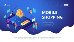 Isometric users buying online with tablets and shopping cart with boxes landing page. Online internet store, e-commerce and marketing concept. Blue violet background. Vector 3d isometric illustration.