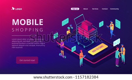 Isometric users buying with tablets and shopping cart with boxes landing page. Online store and buy, e-commerce, mobile marketing concept. Ultra violet background. Vector 3d isometric illustration.