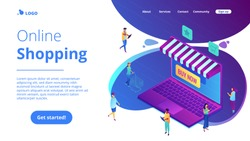 Isometric users with gadgets buying in online store and laptop screen landing page. Online shopping, mobile marketing and purchase concept. Blue violet background. Vector 3d isometric illustration.