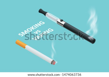 Isometric Vaping device and cigarettes, the concept of choosing the type of cigarette. Electronic Cigarette and Tobacco Cigar. Addiction is Dangerous