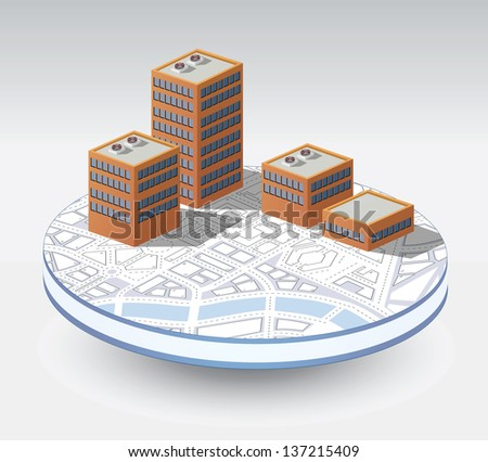 Isometric vector buildings on a round base