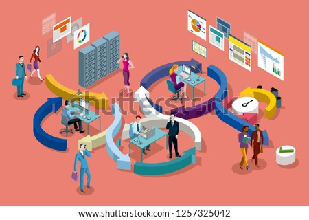 Isometric vector concept illustration . Agile development workflow method. Isometric view of developers team working on computers.