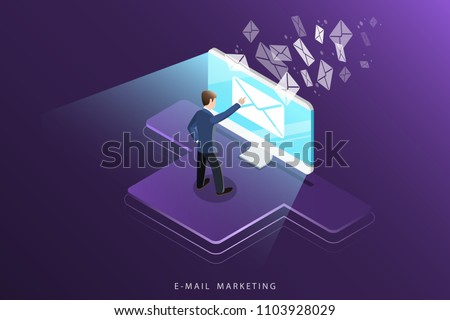 Isometric vector concept of e-mail marketing, advertising campaign, digital promotion.