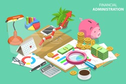 Isometric Vector Concept of Financial Administration. Audit Services, Tax Examination Report, Planning and Accounting.