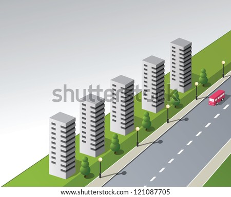 Isometric vector fantasy on the theme of the city with a red bus