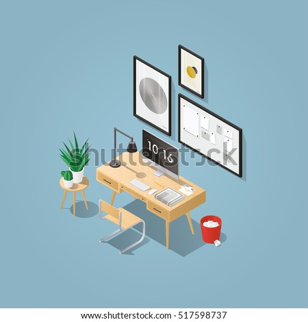 isometric vector home office