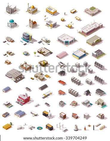Isometric vector icon set which includes buildings, offices, homes, shops, stores, supermarkets, hospital, factory, warehouse, power plant, oil refinery and other industrial structures