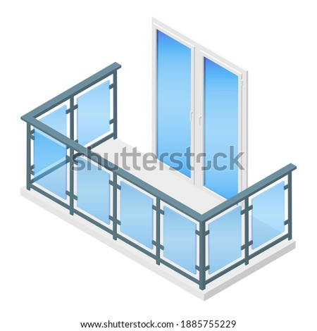 Isometric vector illustration balcony with metal and glass railing isolated on white background. Modern balcony vector icon in flat cartoon style. Metal plastic PVC laminated wood grain balcony doors.