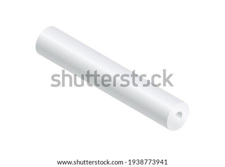 Isometric vector illustration blank paper roll mock up isolated on white background. Realistic paper roll or fabric roll icon in flat cartoon style. White textile or paper roll mockup template.