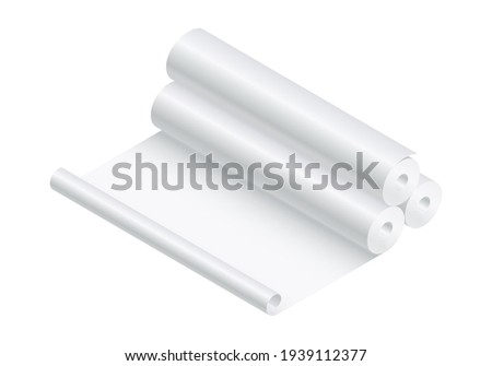 Isometric vector illustration blank paper rolls mock up isolated on white background. Realistic paper rolls or fabric rolls icon in flat cartoon style. White textile or paper rolls mockup template.