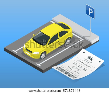 Isometric vector illustration Car in the parking lot and Parking tickets. Flat illustration icon for web. Urban transport. parking space. Accessibility