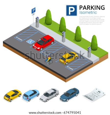 Isometric vector illustration Cars in the parking lot and Parking tickets. Flat illustration icon for web. Urban transport. parking space. Accessibility Parking zone