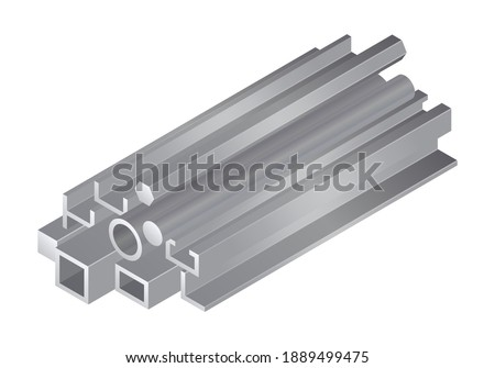 Isometric vector illustration different metal profile and tubes isolated on white background. Stack of steel beam tubes and pipes vector icon in flat cartoon style. Steel construction materials.