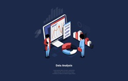 Isometric Vector Illustration In Cartoon 3D Style. Composition With Text And Characters. Concept Design Of Data Analysis Idea. People Standing, Computer With Information On Screen. Charts And Diagrams