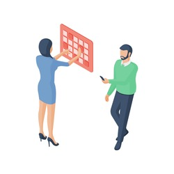 Isometric vector illustration of cartoon woman entering password on digital panel while man using modern smartphone to enter online account