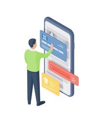 Isometric vector illustration of male customer entering credit card credentials into smartphone while searching and buying clothes in online shop
