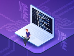 Isometric vector illustration of young programmer coding a new project using computer. Man sitting on the big laptop and working.