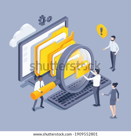 isometric vector illustration on a gray background, people in business clothes with a magnifying glass near the computer look at the folders with files, working with files