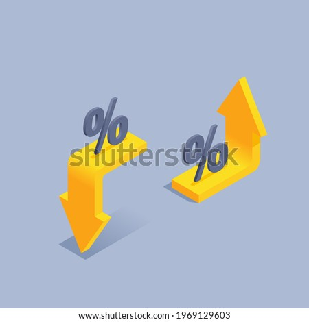 isometric vector illustration on gray background, decrease and increase interest, yellow up and down arrows with percentage icon Foto stock ©