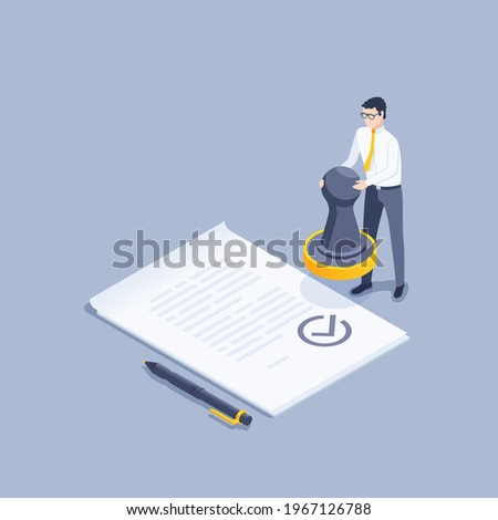 isometric vector illustration on gray background, document approval, man in business clothes with a stamp in his hands near a paper document and a pen