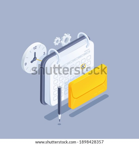 isometric vector illustration on gray background, envelope next to calendar and clock, regular mailing