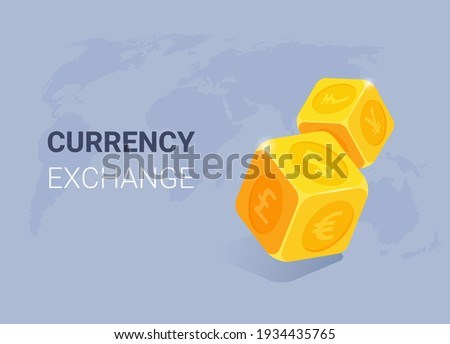 isometric vector illustration on gray background, lendin currency exchange, gold dice with foreign currency icons and world map Foto stock ©