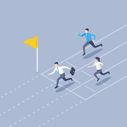 isometric vector illustration on gray background, men and woman in business clothes run to the finish line, become the first and success in business