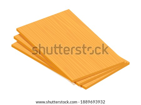 Isometric vector illustration pile of plywood sheets isolated on white background. Realistic wooden building materials vector icon in flat cartoon style. Stack of wooden boards for construction.