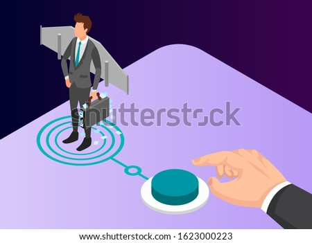 Isometric Vector Illustration Representing a Businessman Standing on a Rocket Launcher with Wings on His Back