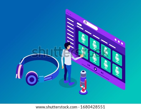 Isometric Vector Illustration Representing A Man Accessing Podcast Channels and Contents to Listen through Headphone