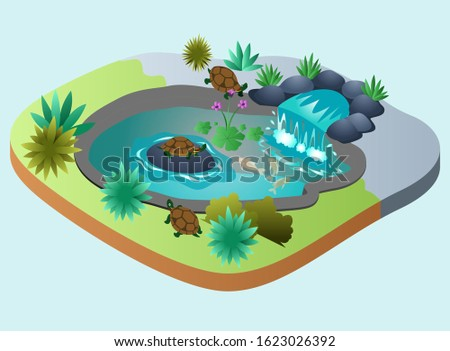 Isometric Vector Illustration Representing A Turtle Pond with Small Waterfall and Some Plants on it and Some Fish Swimming in the Water