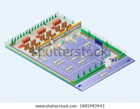 Isometric Vector Illustration Representing Warehouse Area Showing Distribution Flow with Load Trucks