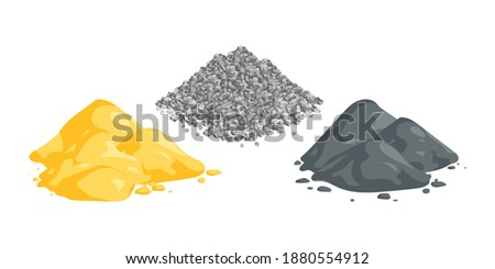 Isometric vector illustration sand, gravel and cement piles isolated on white background. Heaps of building materials vector icons in flat cartoon style. Construction and building materials.