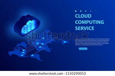 Isometric vector illustration showing concept  cloud computing. From the cloud in world map. World cloud computing concept. Web cloud technology business. Internet data services