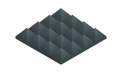 Isometric vector illustration soundproof panel of polyurethane foam isolated on white background. Realistic soundproofing material block icon in flat cartoon style. Acoustic soundproofing.