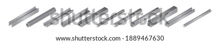 Isometric vector illustrationd different metal profile and tubes isolated on white background. Set of steel beam tubes and pipes vector icons in flat cartoon style. Steel construction materials. Foto stock ©